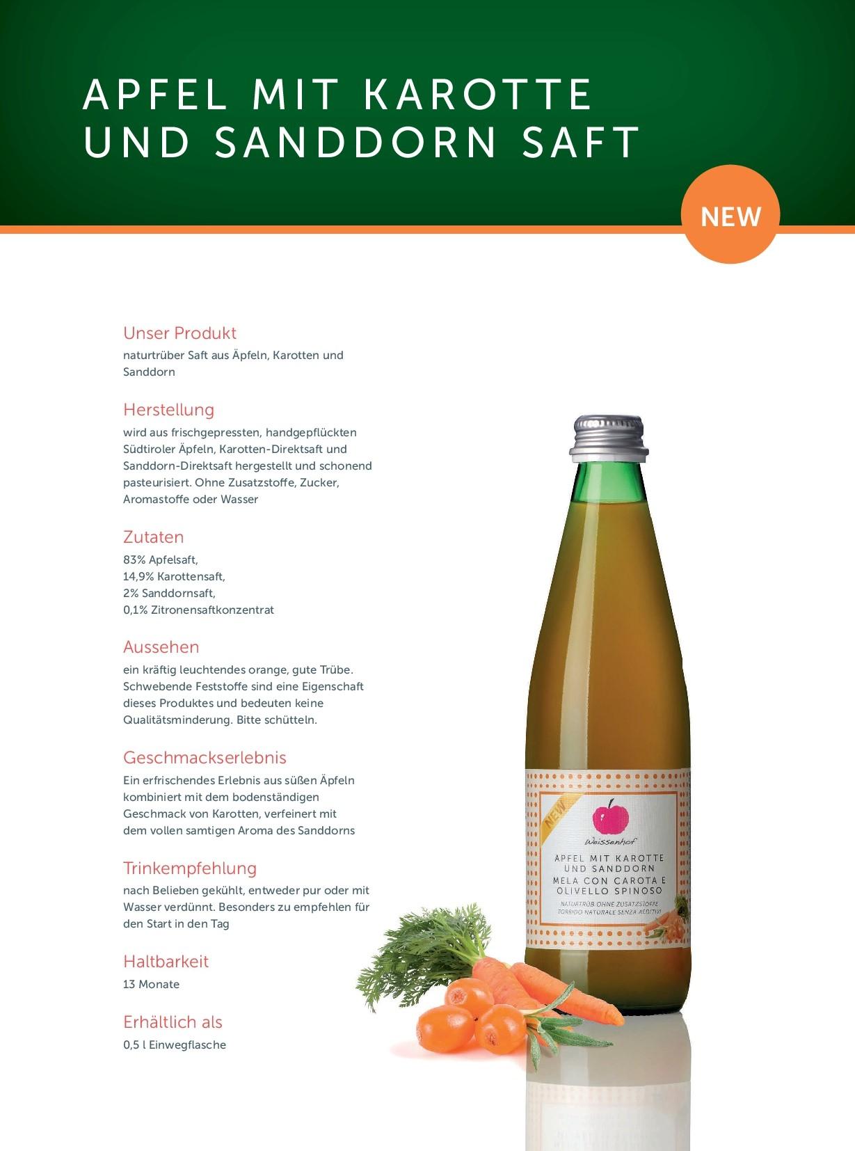 2020_Produktfolder Apfel mit Karotte und Sanddorn Saft_de
